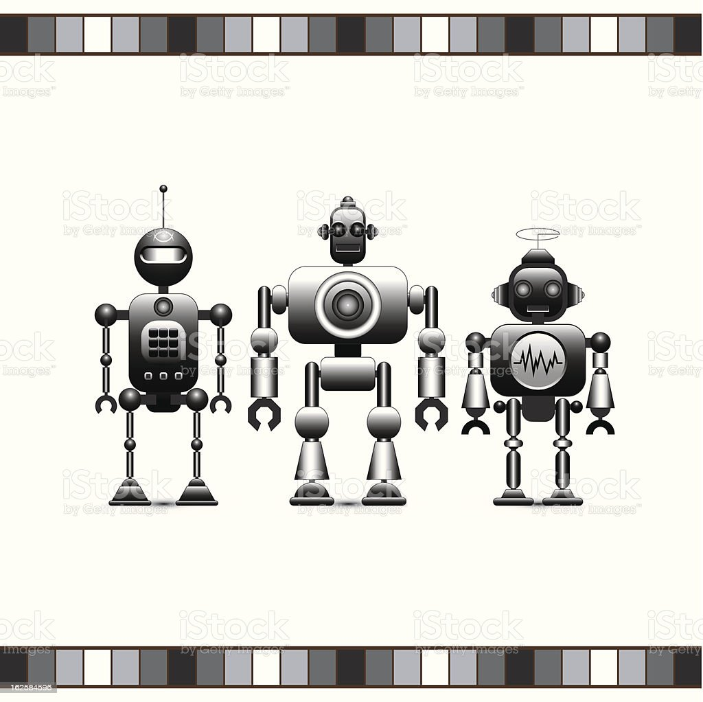 Retro Robots Collection (Metal) royalty-free stock vector art