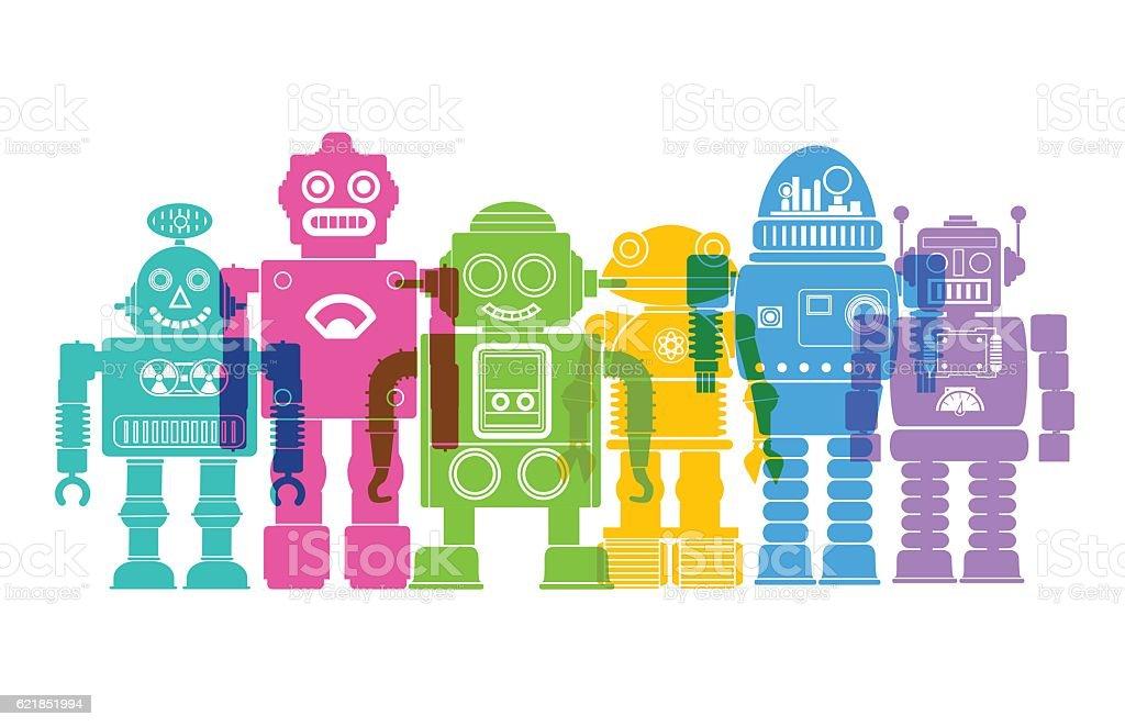 Retro Robots vector art illustration