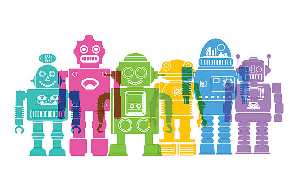 retro robots - robotics stock illustrations, clip art, cartoons, & icons