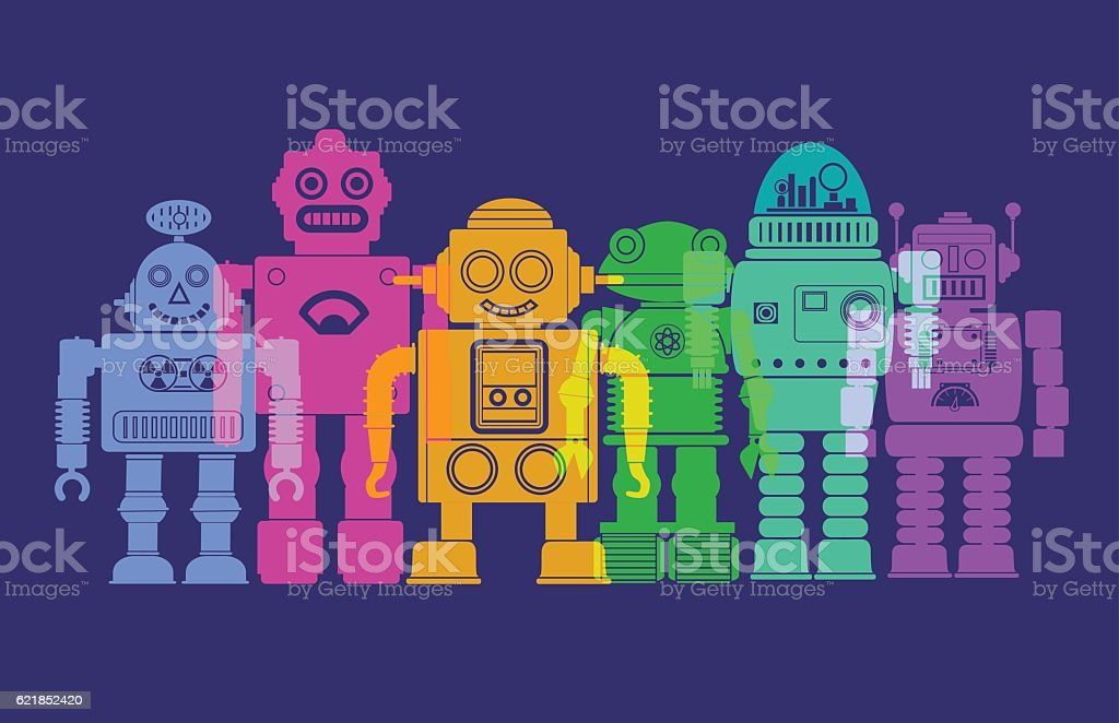 Retro Robots vector art illustration
