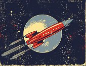 istock Retro Rocket Cartoon in Outer Space 91354007
