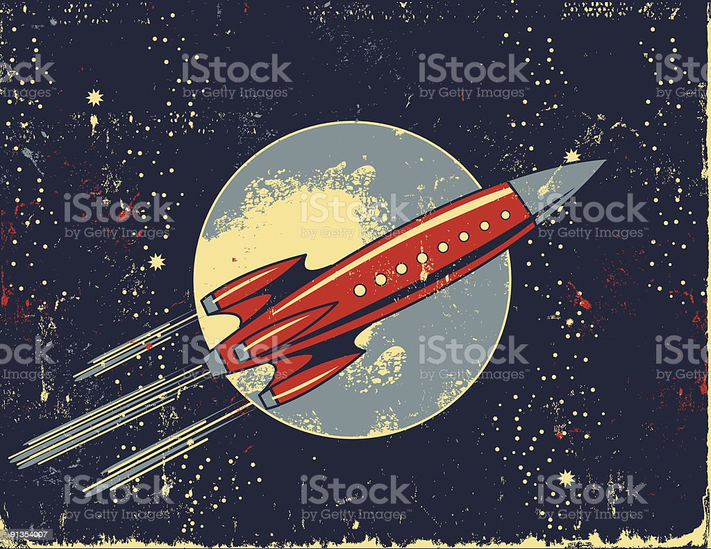 Retro Rocket Cartoon in Outer Space vector art illustration