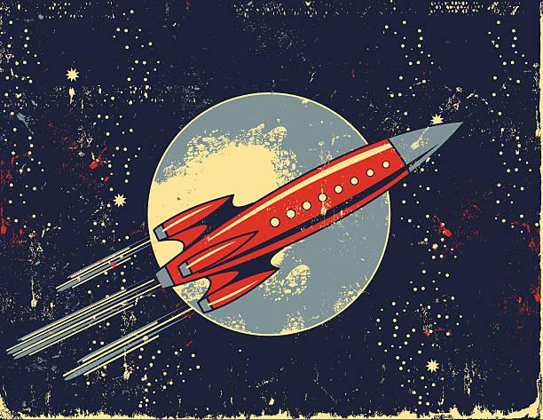stockillustraties, clipart, cartoons en iconen met retro rocket cartoon in outer space - raket ruimteschip