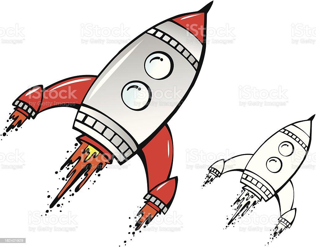 Retro Rocket Hand Drawn vector art illustration