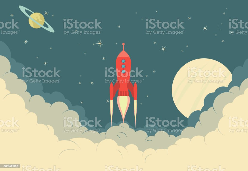 Retro Rocket Spaceship vector art illustration