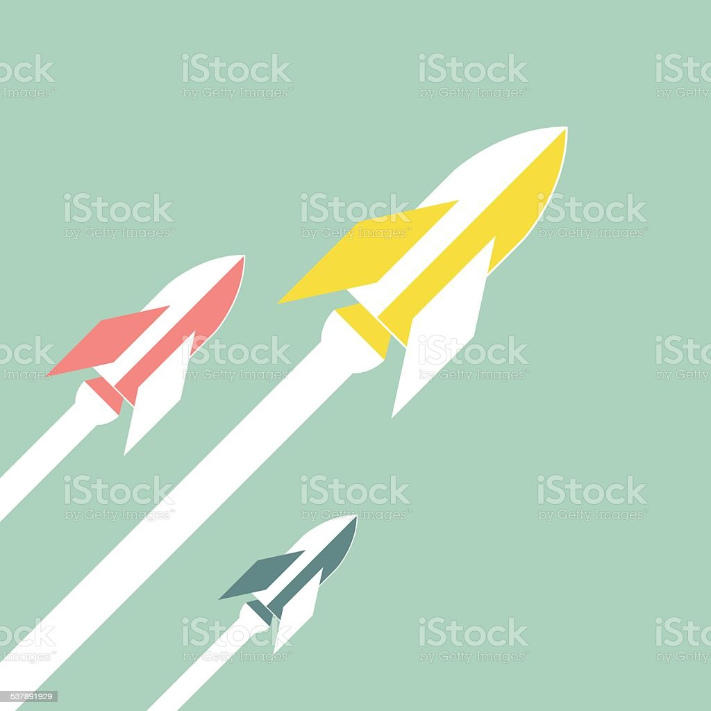 Retro Rockets vector art illustration