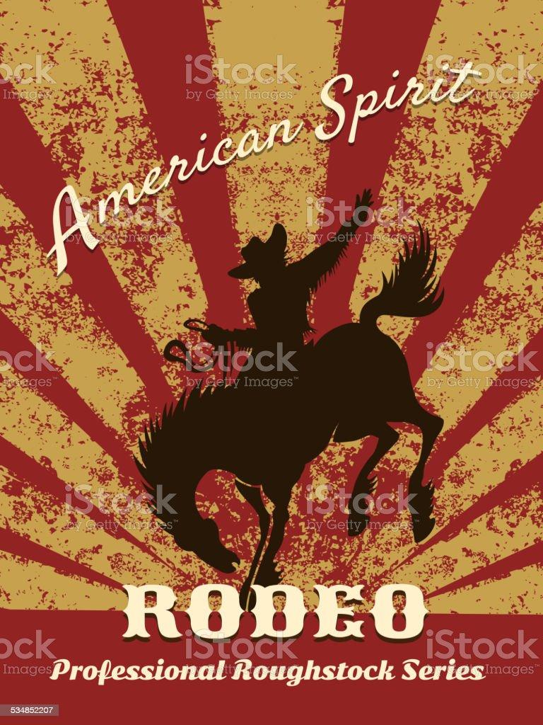 Retro rodeo poster vector art illustration