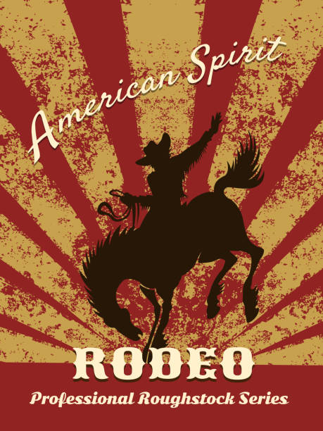retro rodeo poster - rodeo stock illustrations, clip art, cartoons, & icons