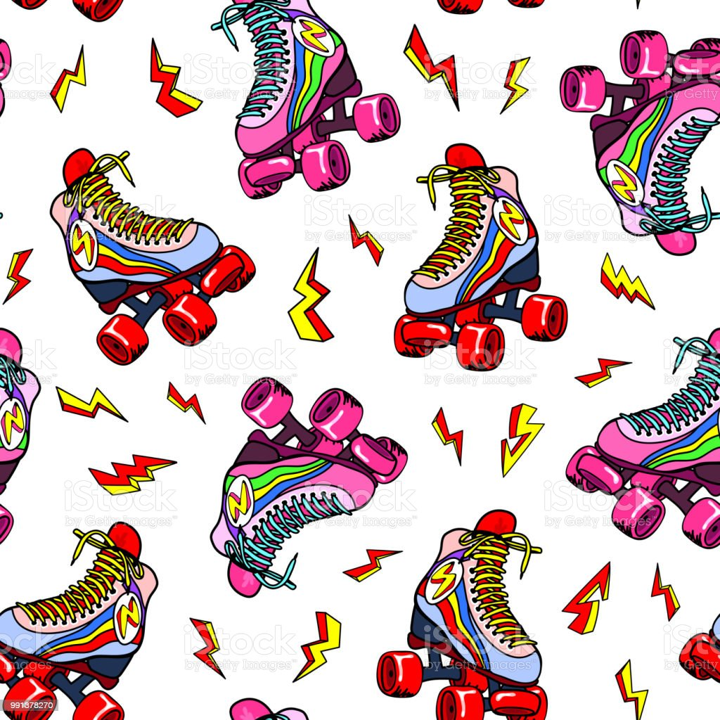 Retro roller derby skates with the lightning strikes seamless pattern. Vector illustration. Fun disco background design. vector art illustration