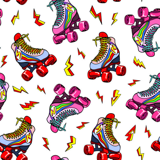 retro-roller derby-skates mit dem blitzschlag nahtlose muster. vektor-illustration. fun disco hintergrunddesign. - rollschuh stock-grafiken, -clipart, -cartoons und -symbole