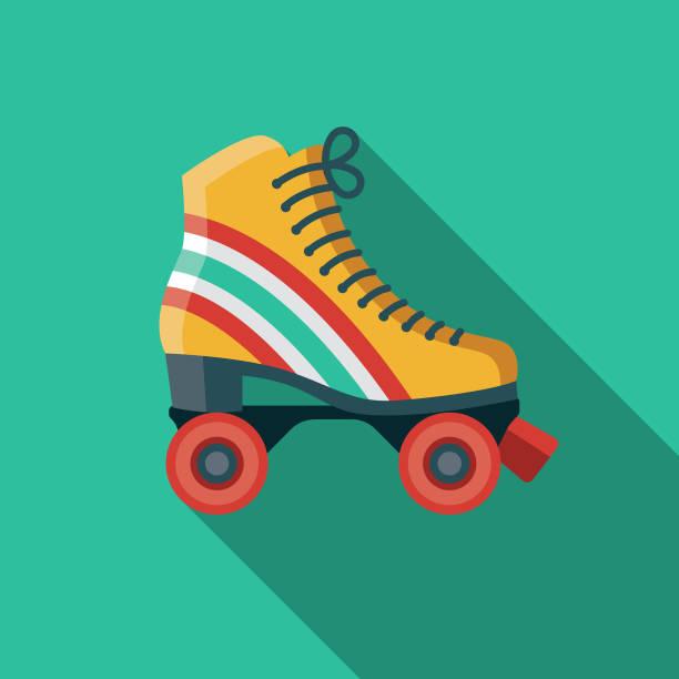 retro-roller-skates flache design der 1970er jahre-ikone - rollschuh stock-grafiken, -clipart, -cartoons und -symbole
