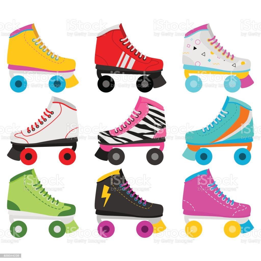 Retro Roller Skates In White Background - Royalty-free 1970-1979 stock vector