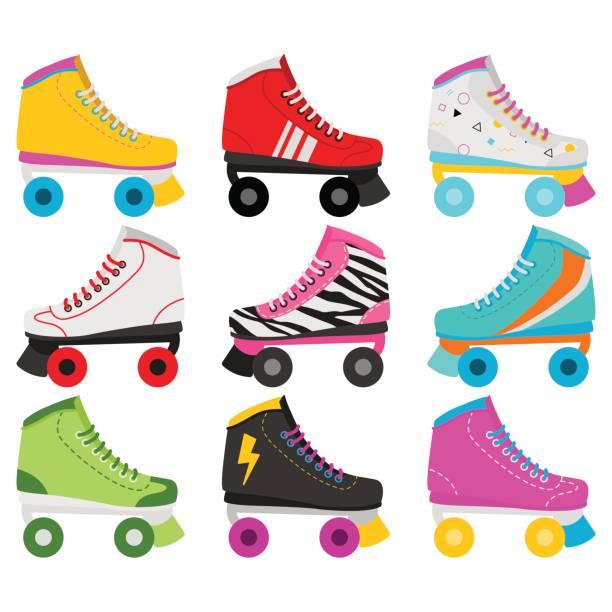 Retro Roller Skates In White Background Roller Skates In Different Styles skate stock illustrations