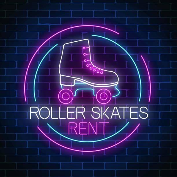 retro-roller-skates mieten leuchtende neon anmelden kreis rahmen. skate-zone-symbol in neon-stil. - rollschuh stock-grafiken, -clipart, -cartoons und -symbole