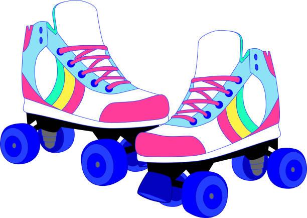 retro-roller-skates - rollschuh stock-grafiken, -clipart, -cartoons und -symbole