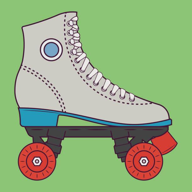 retro-roller-skates-vektor-illustration - rollschuh stock-grafiken, -clipart, -cartoons und -symbole