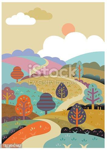 istock Retro rolling road illustration 1271542467