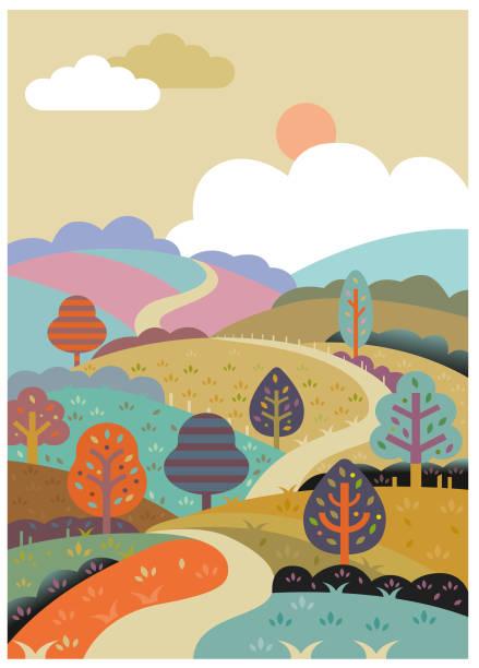 Retro rolling road illustration vector art illustration