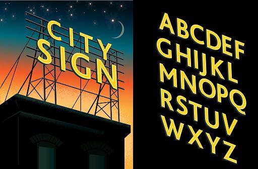 Retro rooftop billboard sign decorative alphabet font set