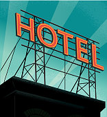 istock Retro rooftop billboard sign that reads Hotel 1272696755