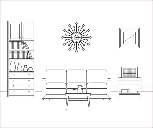 ilustrações de stock, clip art, desenhos animados e ícones de retro room interior. linear vector illustration. - coffee table