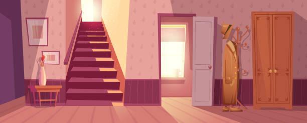 illustrations, cliparts, dessins animés et icônes de illustration vectorielle intérieur chambre rétro - entrée