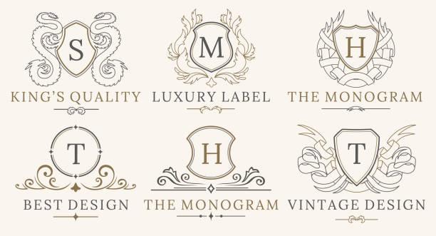 retro-royal vintage schilde logo gesetzt. vektor-calligraphyc-luxus-logo-design-elemente. firmenschilder, logos, abzeichen, identität, spa, hotels - wappen stock-grafiken, -clipart, -cartoons und -symbole