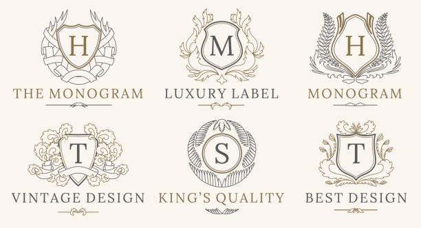retro-royal vintage schilde logo gesetzt. vektor-calligraphyc-luxus-logo-design-elemente. firmenschilder, logos, abzeichen, identität, spa, hotels - monogrammarten stock-grafiken, -clipart, -cartoons und -symbole