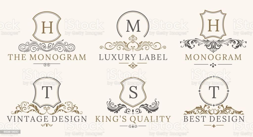 Retro Royal Vintage Shields Logotype set. Vector calligraphyc Luxury logo design elements. Business signs, logos, identity, spa, hotels, badges vector art illustration