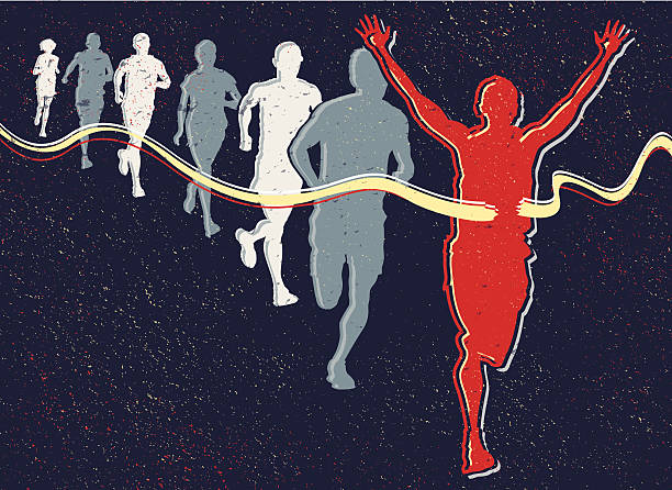 Retro Runners vector art illustration