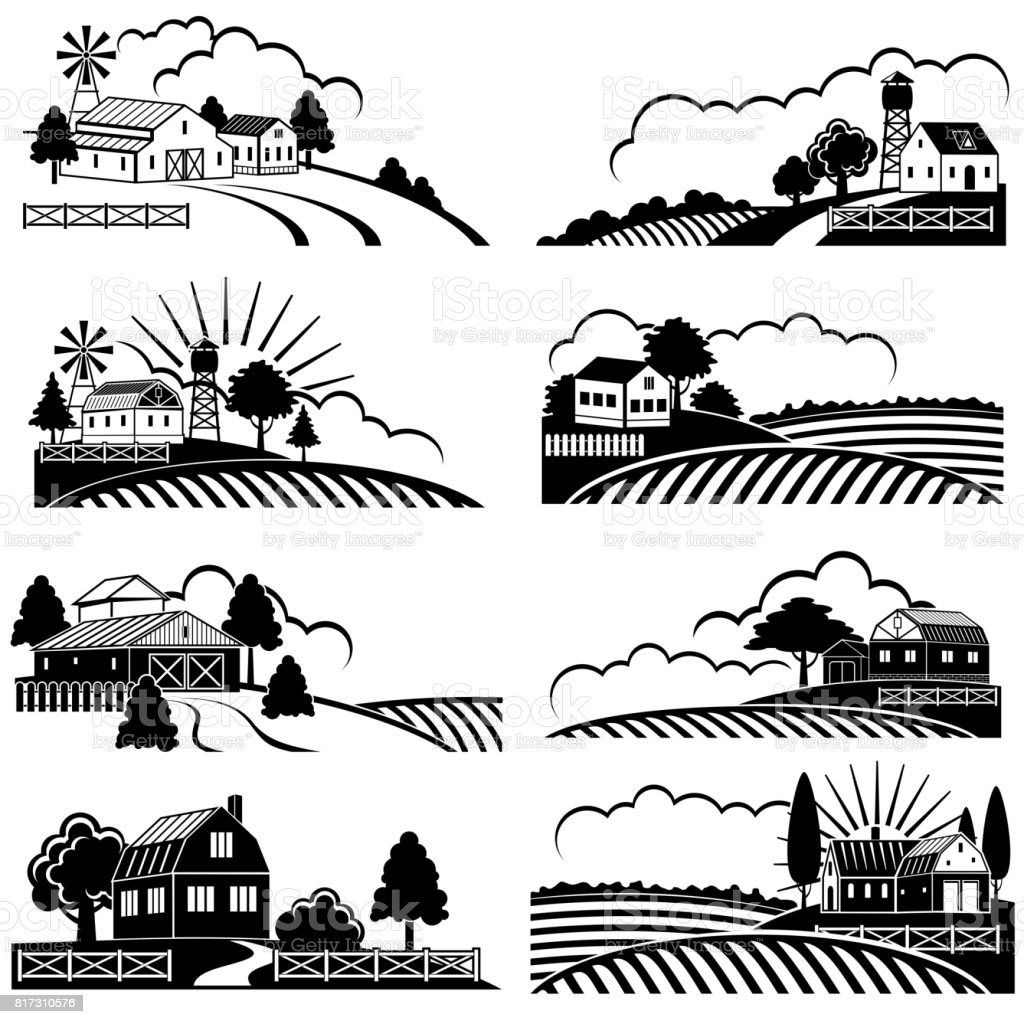 Retro rural landscapes with farm building in field. Vector vintage woodcut art vector art illustration