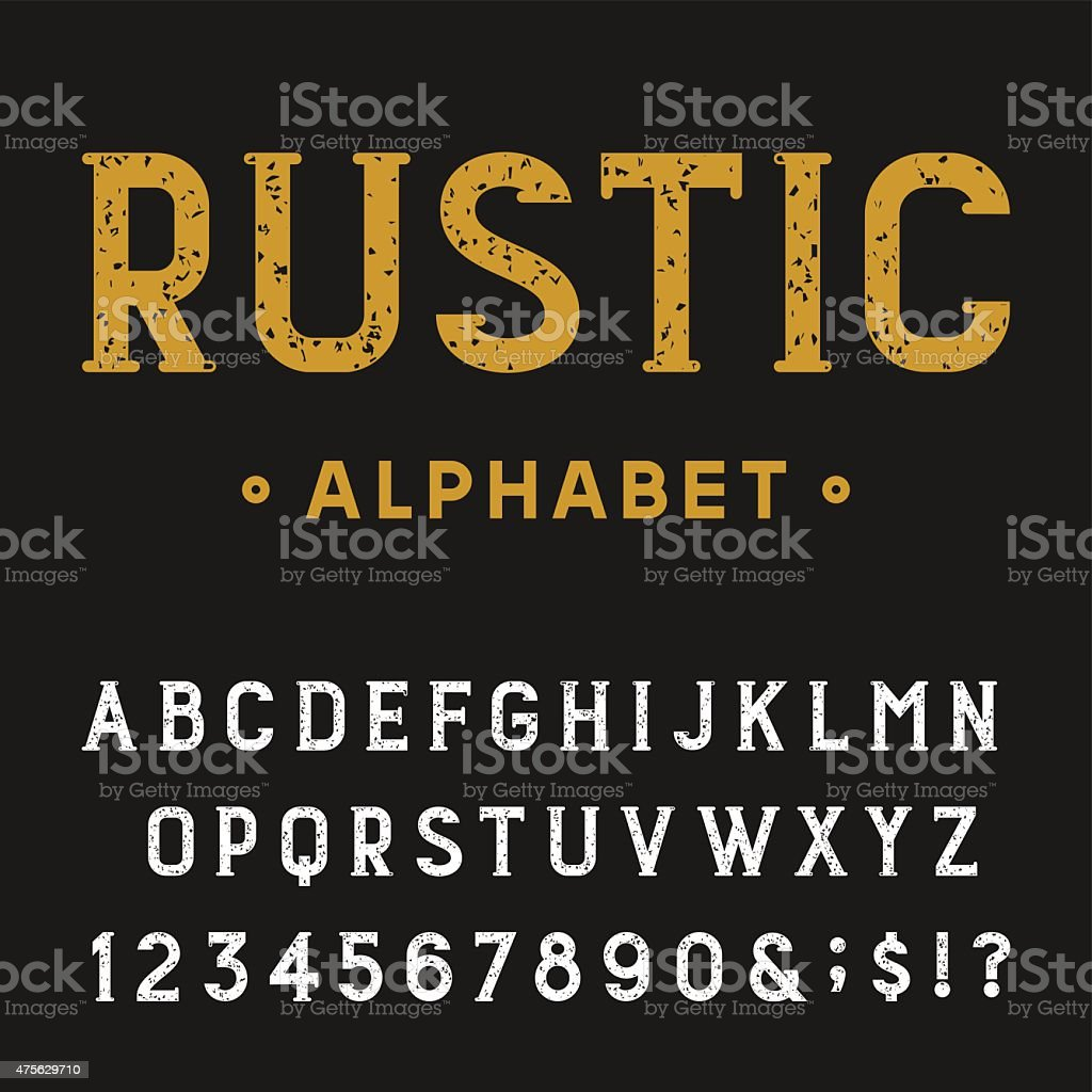 Retro Rustic Alphabet Vector Font. vector art illustration