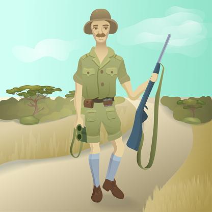 Retro safari hunter with a gun and binoculars at savanna