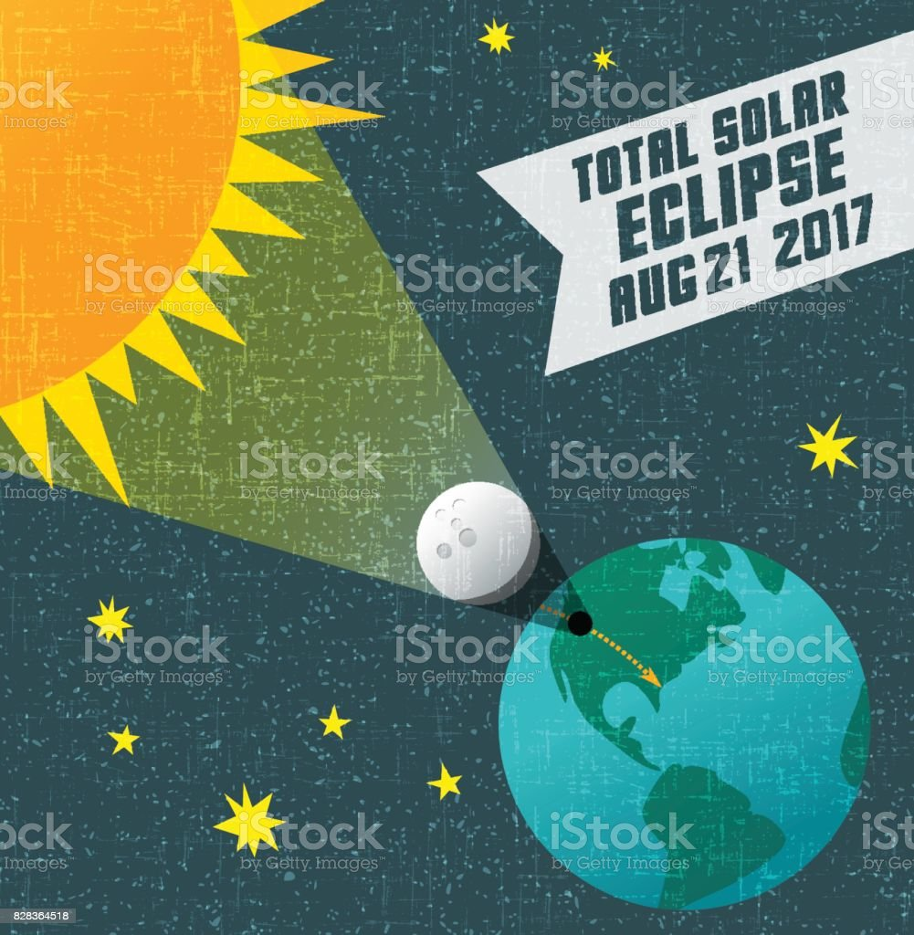 retro science illustration of the solar eclipse with starry night background. Web banner, card, poster or t-shirt design. vector art illustration