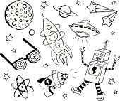 A retro science fiction themed doodle page. Includes robot, ray gun, atom, x-ray glasses, rocket, ufo, stars, planets and the moon.