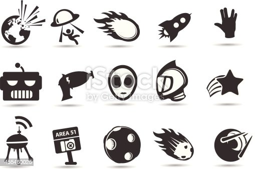 A retro sci-fi icons full of wierd strange sci-fi related things.