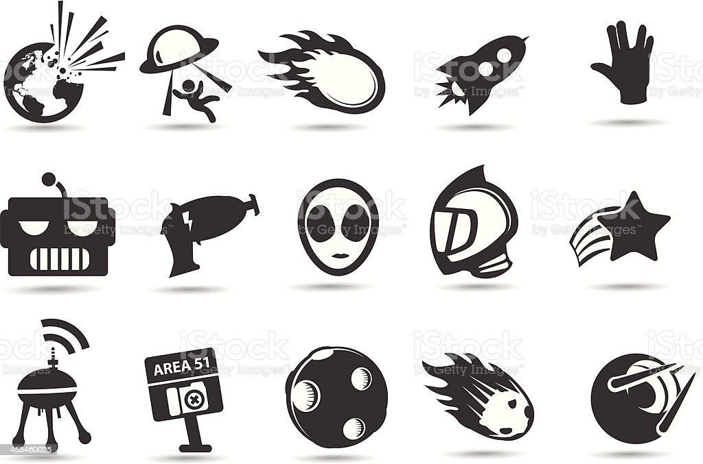 Retro Sci-fi Icons vector art illustration