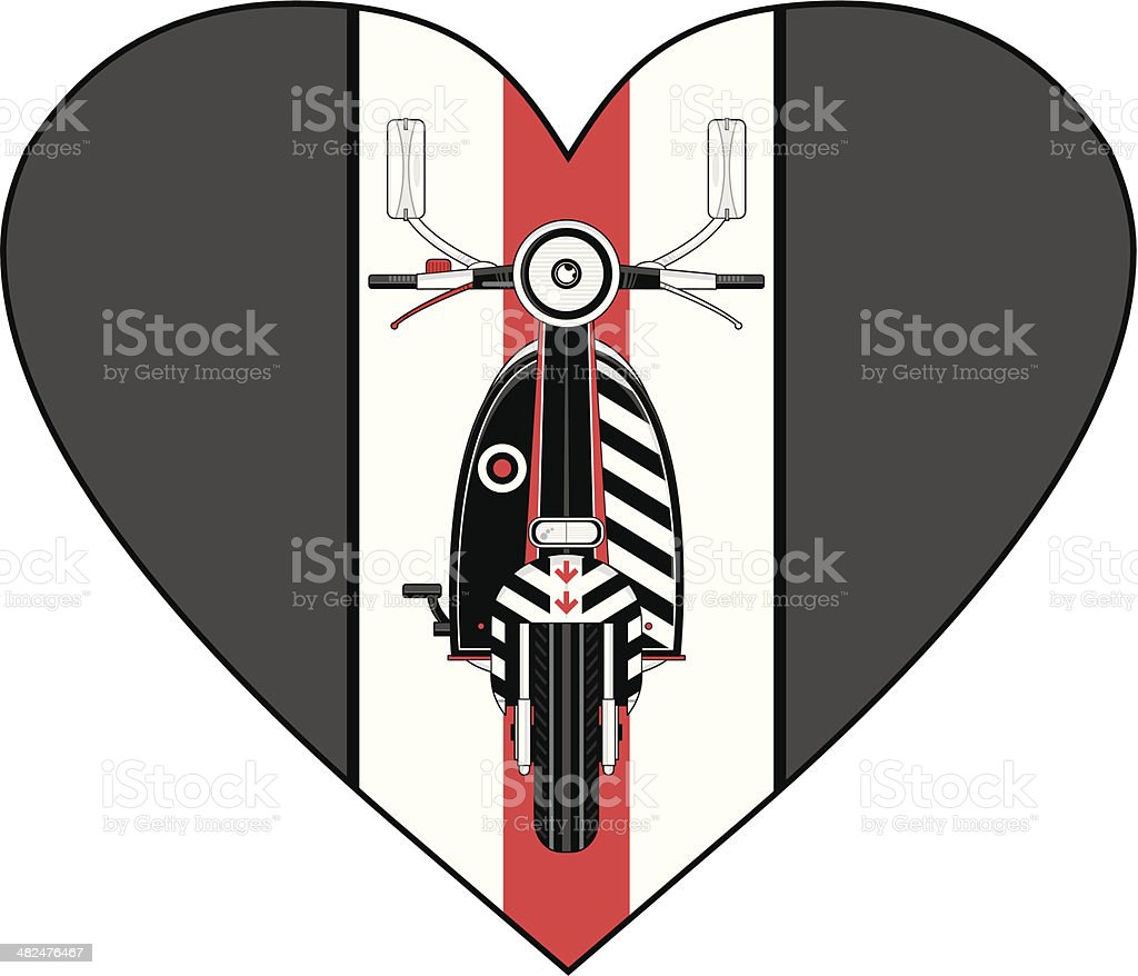 Retro Scooter Heart royalty-free stock vector art