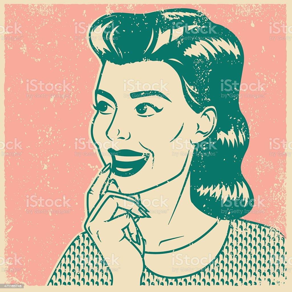 Retro Screen Print Contemplative Woman Line Art Illustration vector art illustration