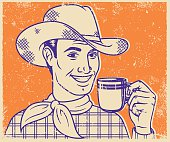An vintage styled line art illustration of a handsome, smiling retro gentleman. Grunge texture added to create a trendy screen printed effect.