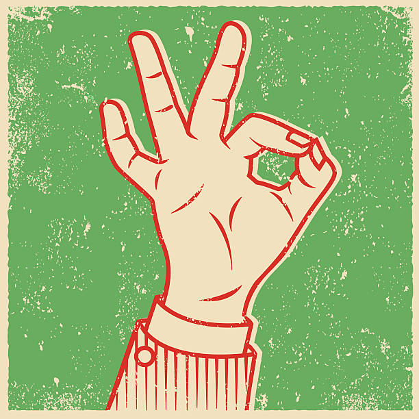 Retro Screen Print Hand Giving The OK Sign An vintage styled line art illustration of a hand giving an 'OK' sign. Grunge texture added to create a trendy screen printed effect. silk screen stock illustrations