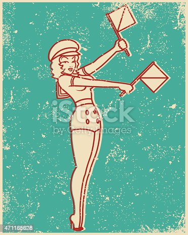 An vintage styled line art illustration of a pin up girl giving semaphore flag symbols. Grunge texture added to create a trendy screen printed effect.