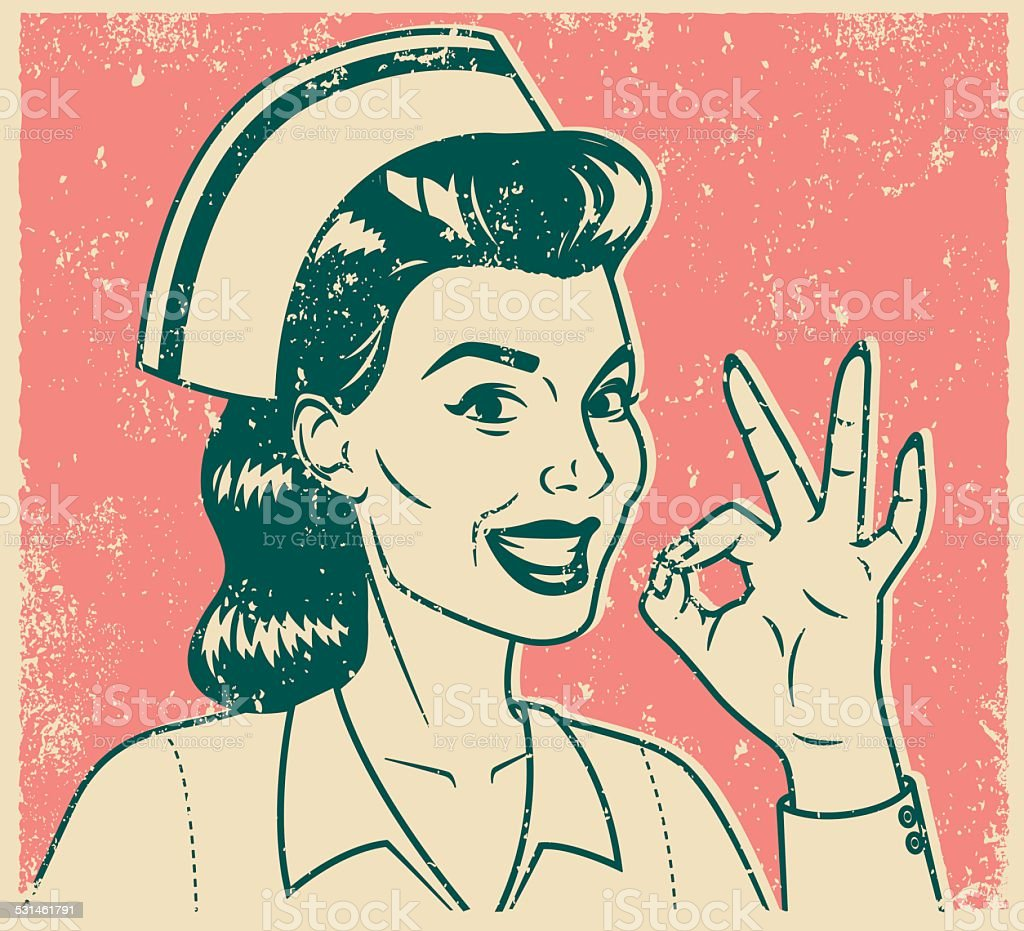 Retro Screen Print Nurse Giving OK Sign vector art illustration