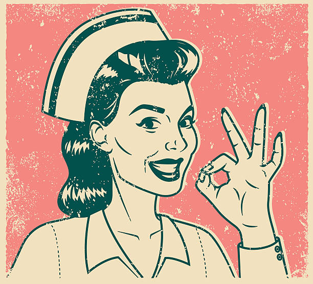 retro screen print nurse giving ok sign - nurse stock illustrations, clip art, cartoons, & icons