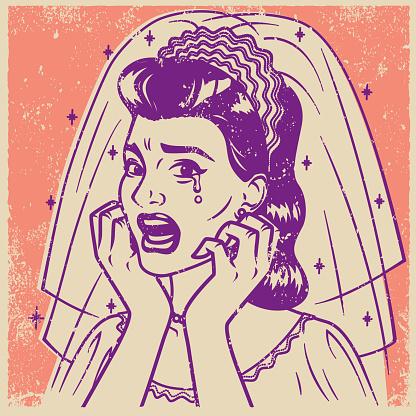 Retro Screen Print of a Crying Bride
