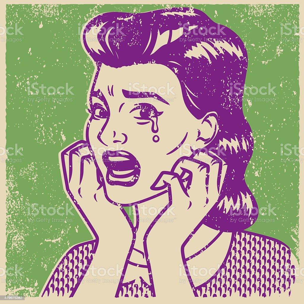 Retro Screen Print of a Crying Woman vector art illustration