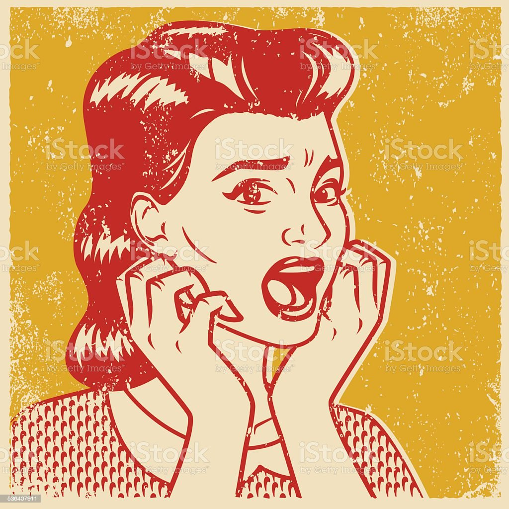 Retro Screen Print of a Terrified Woman vector art illustration
