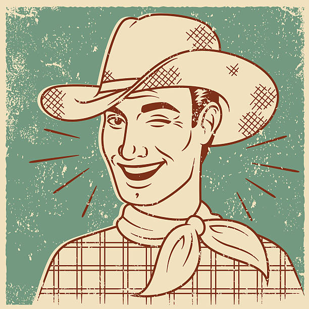 Retro Screen Print of Smiling Cowboy An vintage styled line art illustration of a stylish, handsome smiling man. Grunge texture added to create a trendy screen printed effect. silk screen stock illustrations