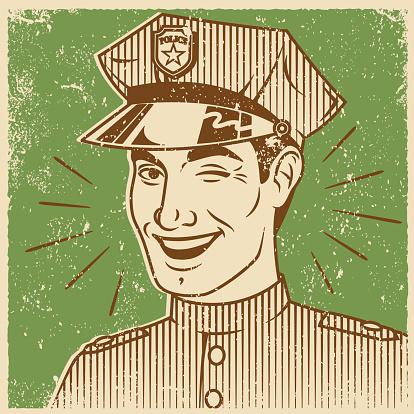 Retro Screen Print of Smiling Man