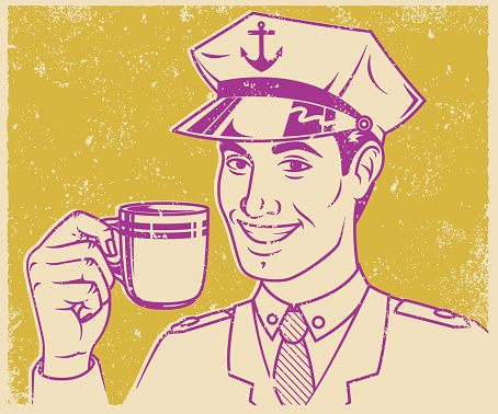 Retro Screen Print Sailor Drinking Coffee